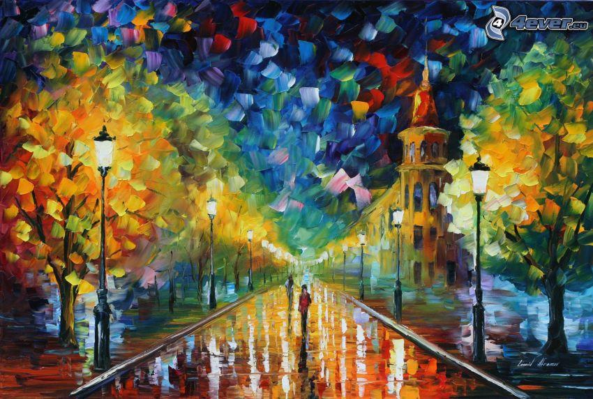 gata, gränd, träd, gatlyktor, oljemålning