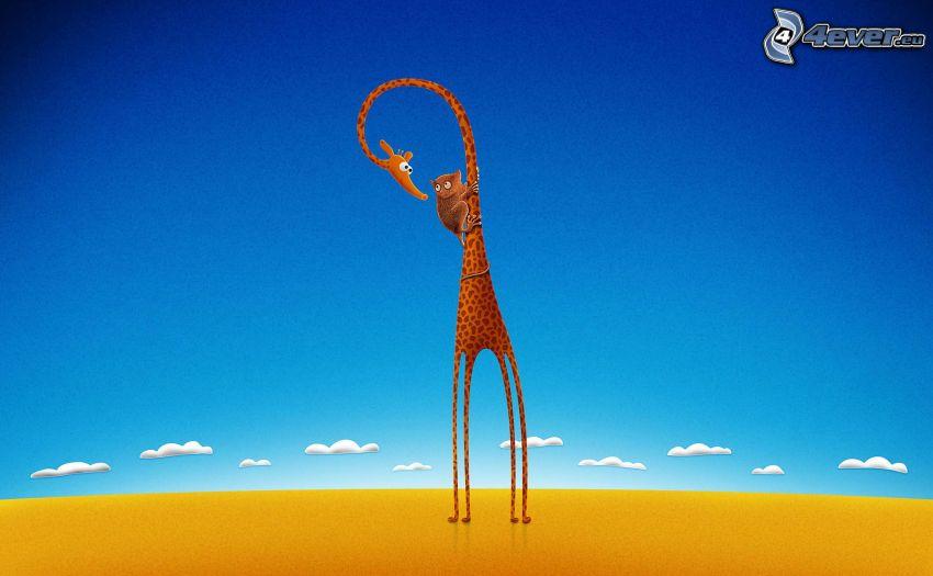 giraff, roligt djur