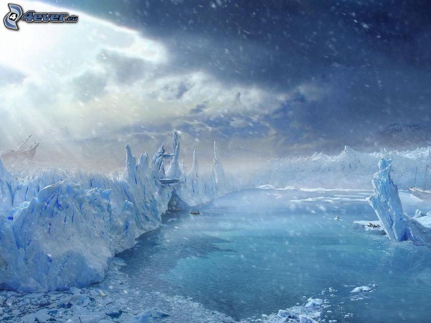 glaciärer, snö, solstrålar