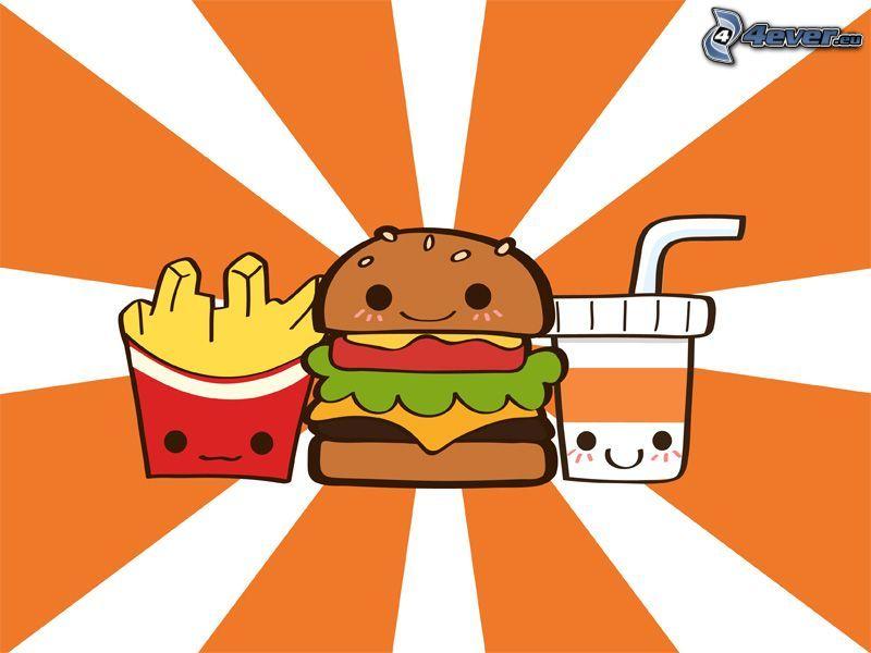 glad mat, hamburger, dryck, pommes frites, smileys