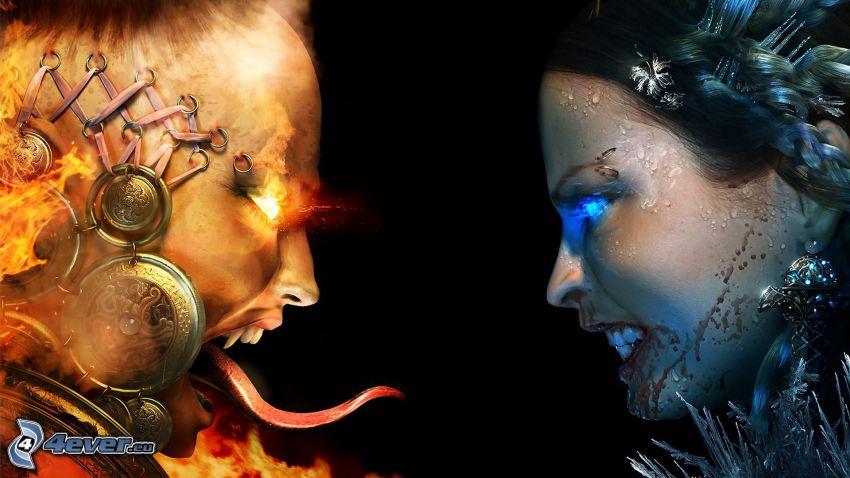 godhet och ondhet, eld och vatten, djävulen