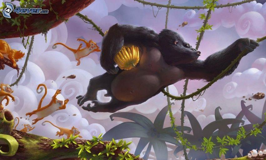gorilla, apor, lianer