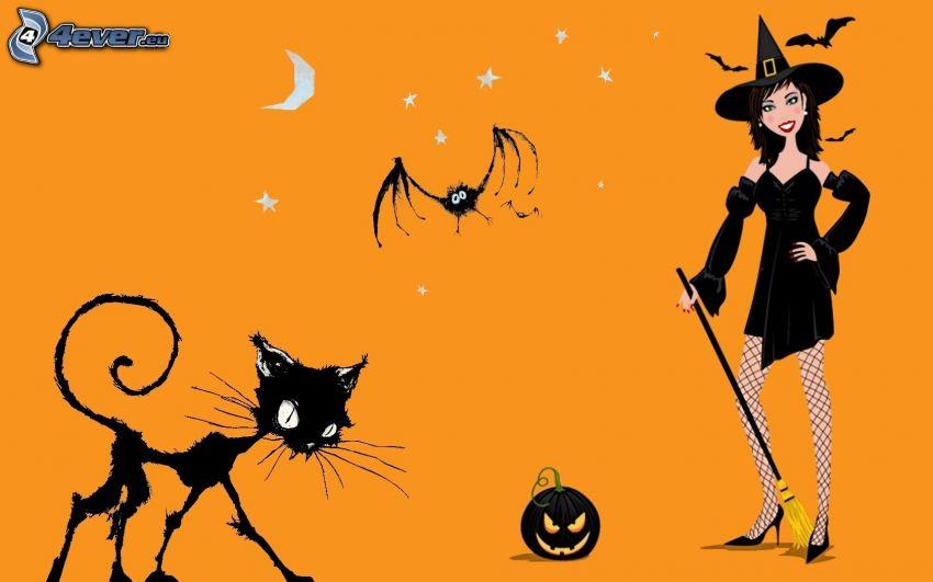 Halloween, häxa, svart katt, fladdermus