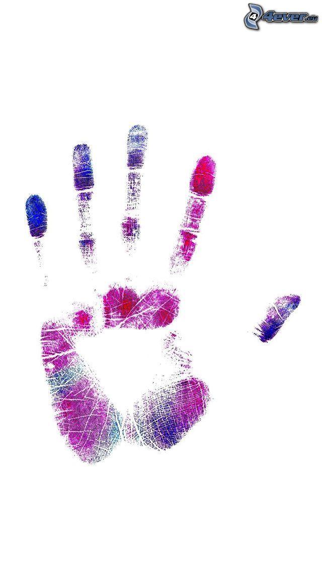 handavtryck, färger