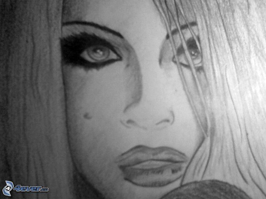 ansikte, teckning
