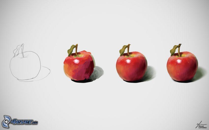 äpplen, teckning