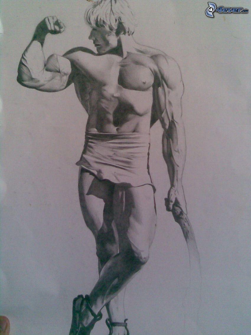 Dave Draper, muskulös man, teckning