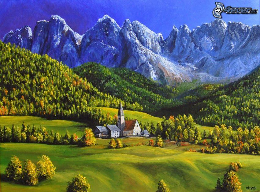 Dolomiterna, kyrka, klippiga berg, skog