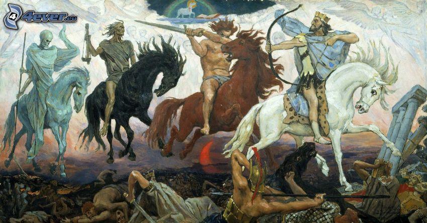 duell, ryttare, män, hästar