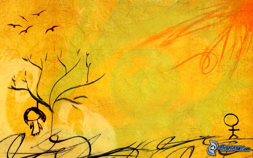 hängd, sol, kråkor