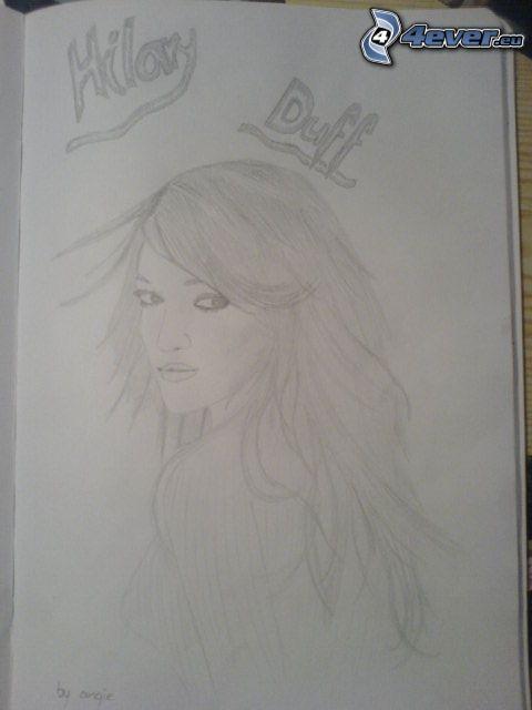 Hilary Duff, teckning