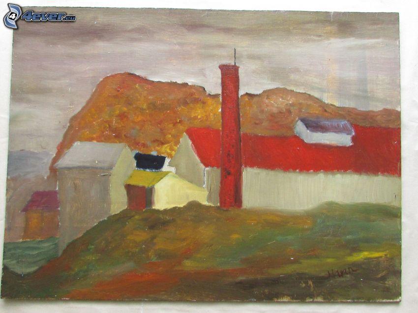 hus, målning