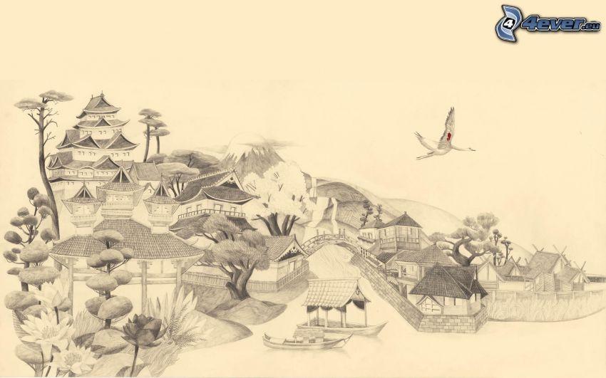 Japanskt hus, teckning
