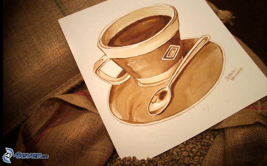 kaffekopp, sked, målning, kaffebönor