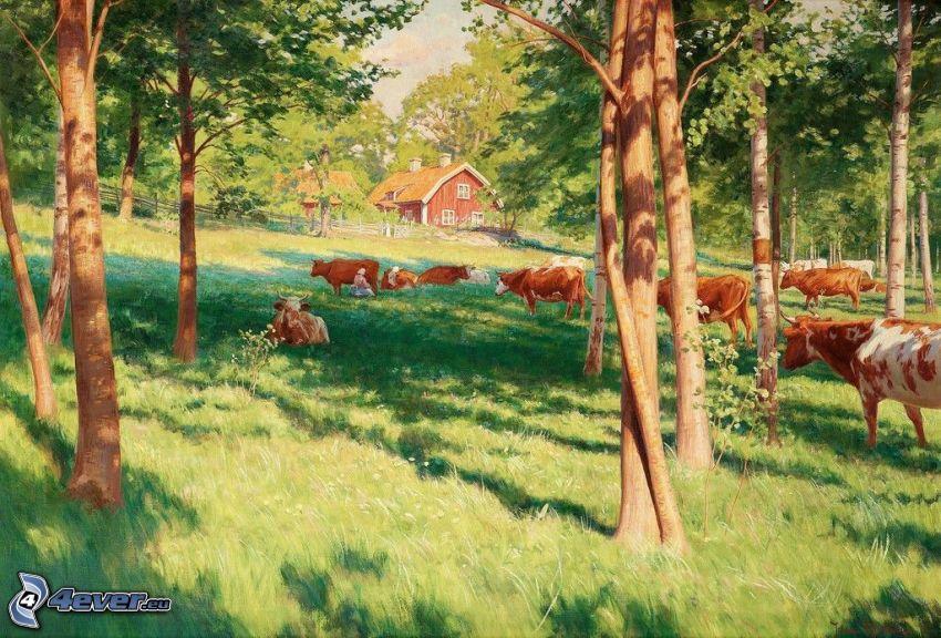 kor, träd, gräs, hus, målning