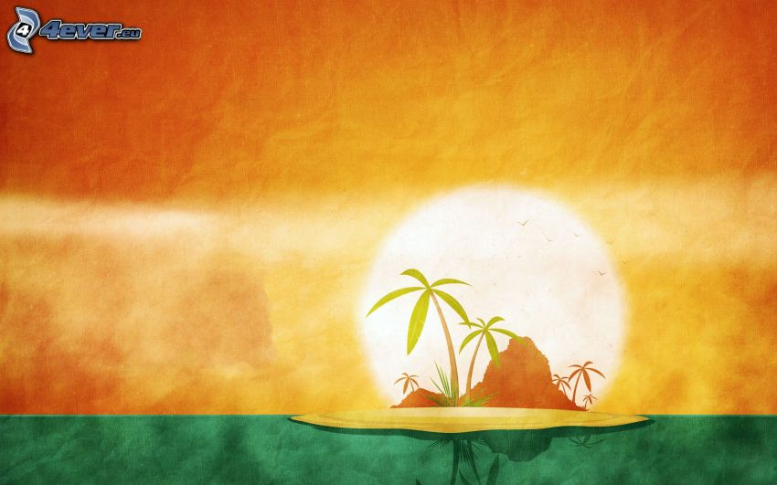 palmö, hav, skinande orange sol, målning