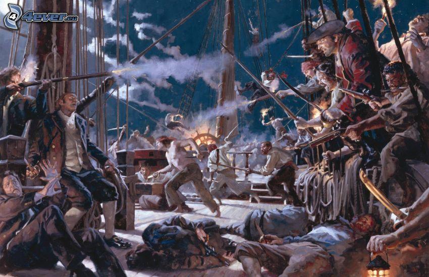 pirater, slagsmål