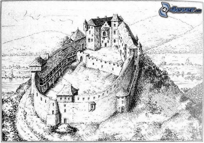 slott, Považská Bystrica, teckning
