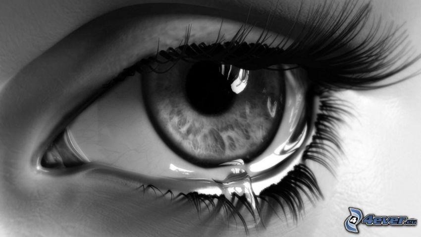 sorgset öga, gråt, tåre