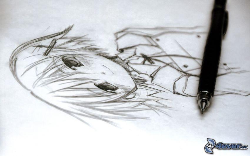 tecknad flicka, bläckpenna