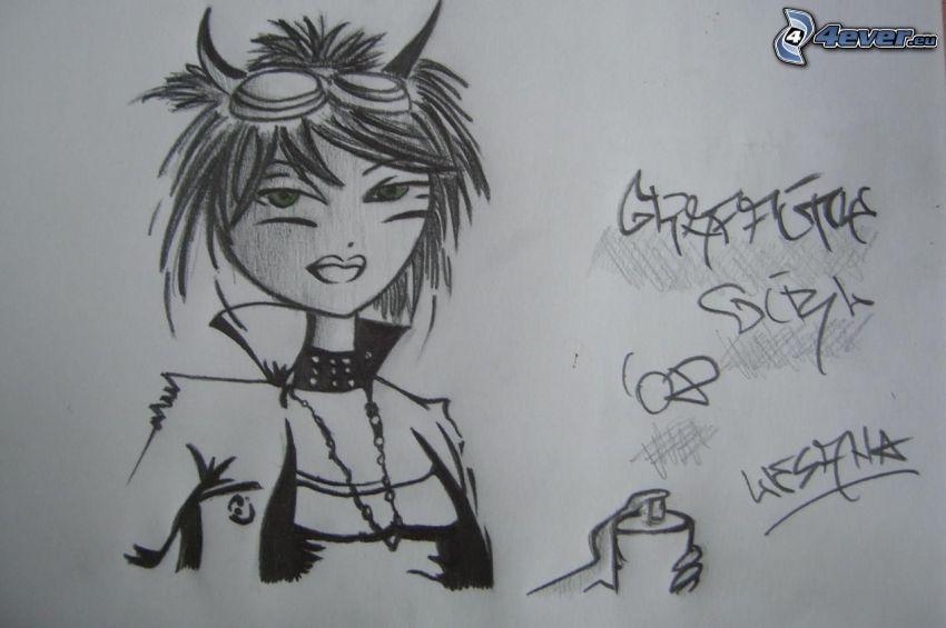 tecknad flicka, djävulinna, graffiti