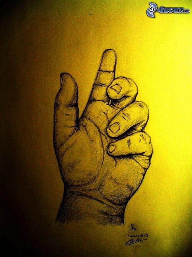 tecknad hand, konst