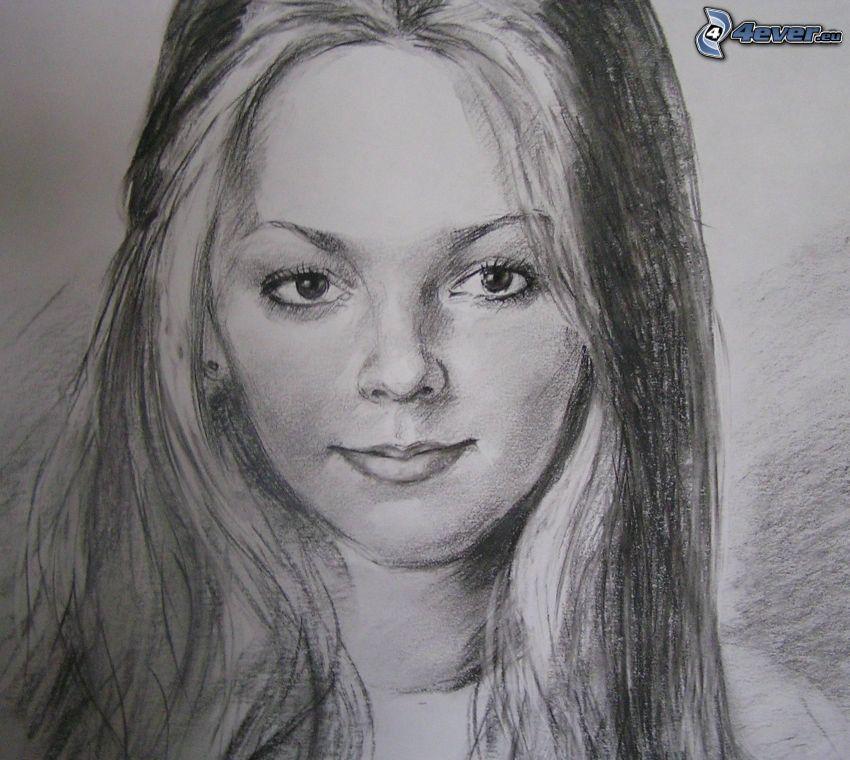 tecknad kvinna, ansikte