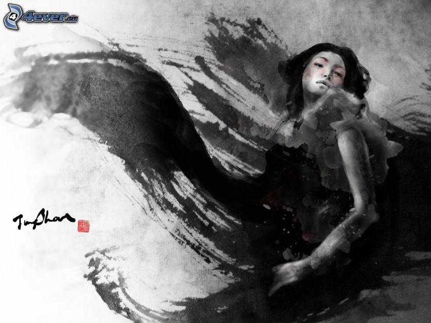tecknad kvinna, svart och vitt