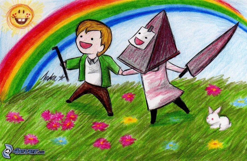 tecknade barn, äng, färggrann regnbåge