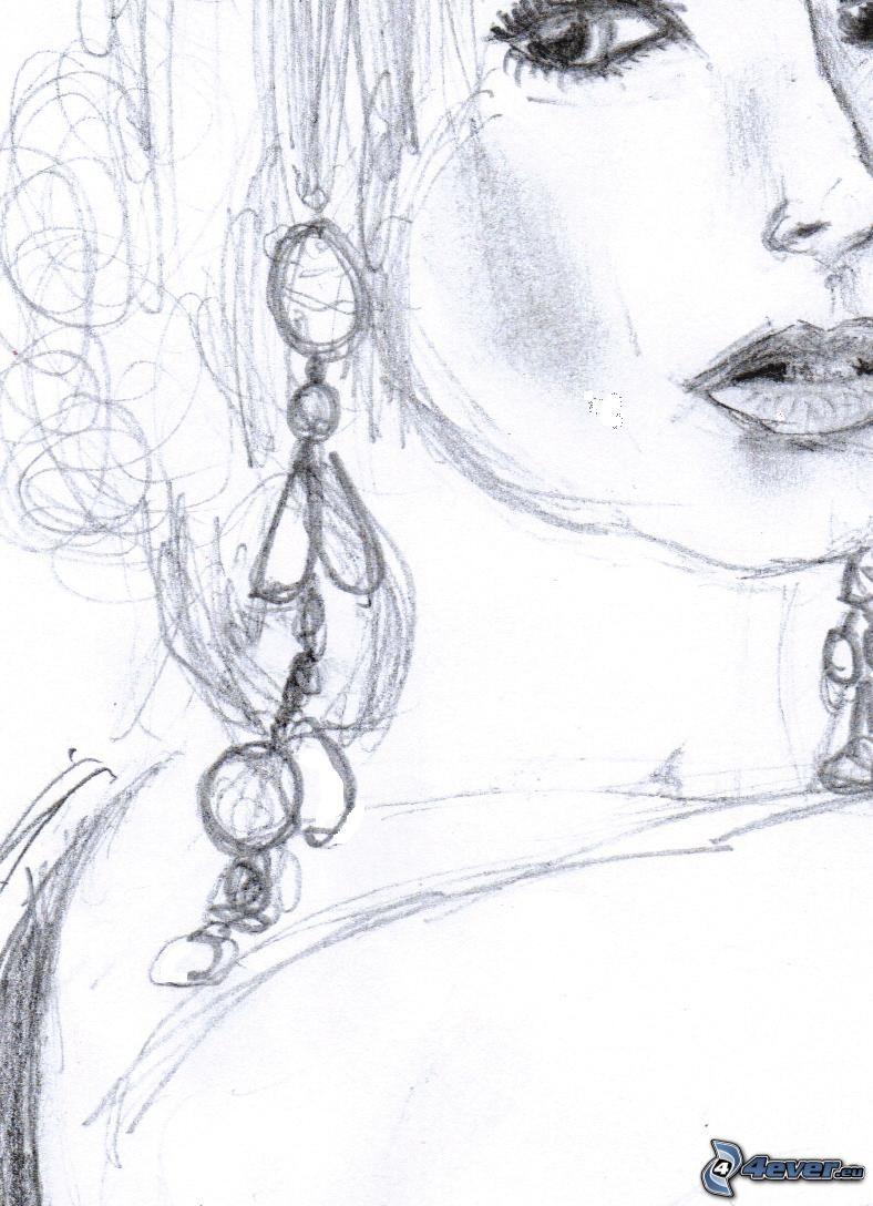 tecknat ansikte, tecknad kvinna, örhängen