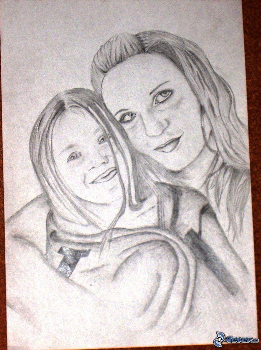 teckning, mor, dotter