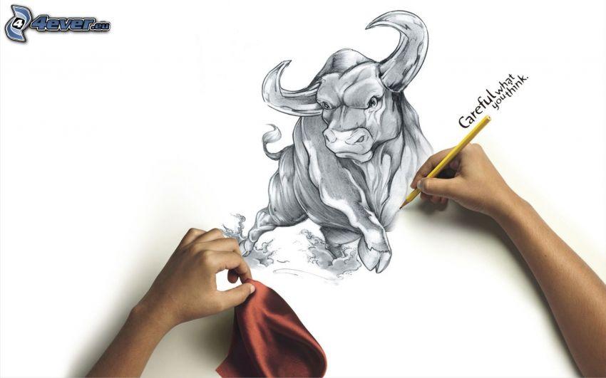 tjur, teckning, händer