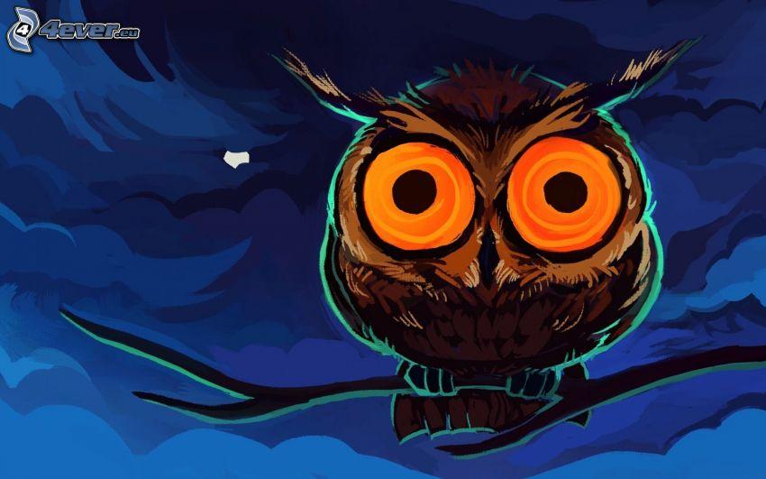 uggla, natt, måne