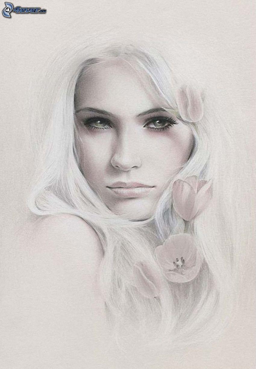vacker kvinnas ansikte, tecknat ansikte