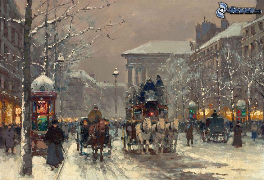 vagn, snöig gata, människor, målning