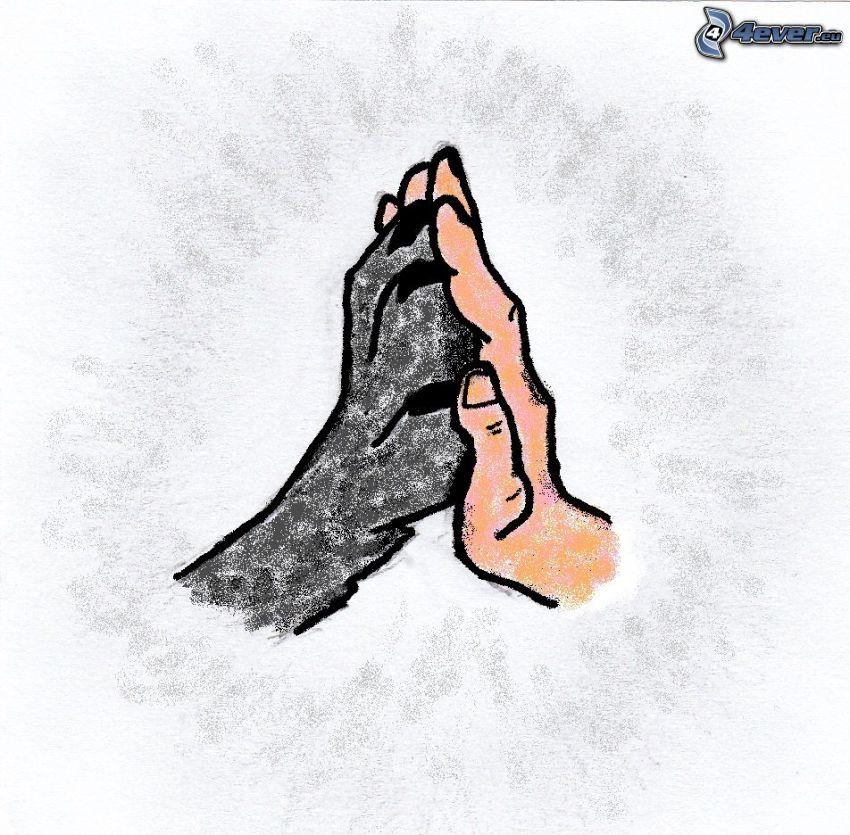 vänskap, tecknad hand, tass