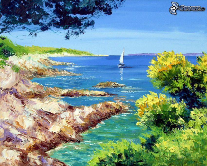 vik, klippstrand, segelbåt, hav, målning