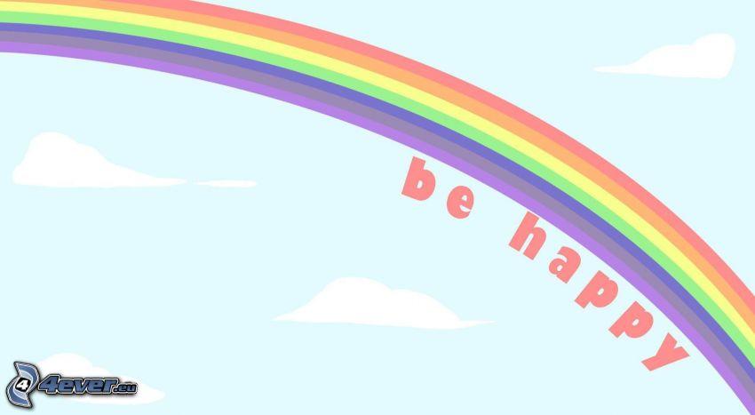 happy, regnbåge, lycka