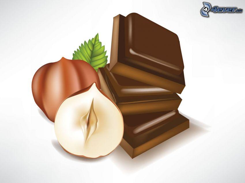 hasselnötter, choklad