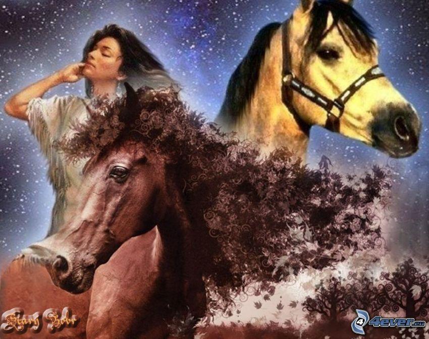hästar, indiankvinna