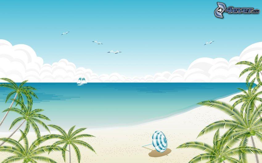 hav, sandstrand, båt på havet, parasoll, palmer, måsar, moln