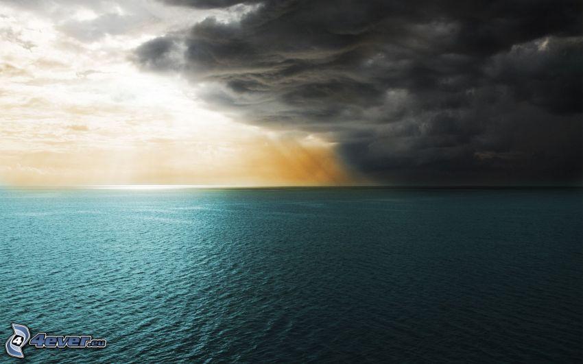 hav, storm, moln, solstrålar