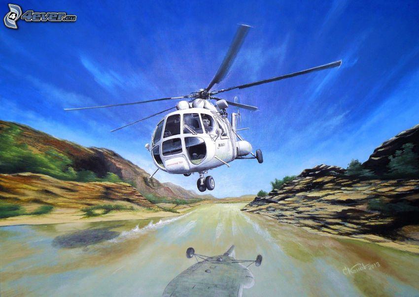helikopter, flod, spegling