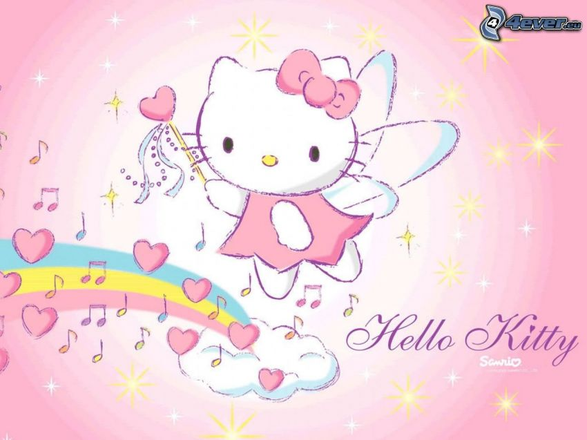 Hello Kitty, tecknad ängel, hjärtan, noter