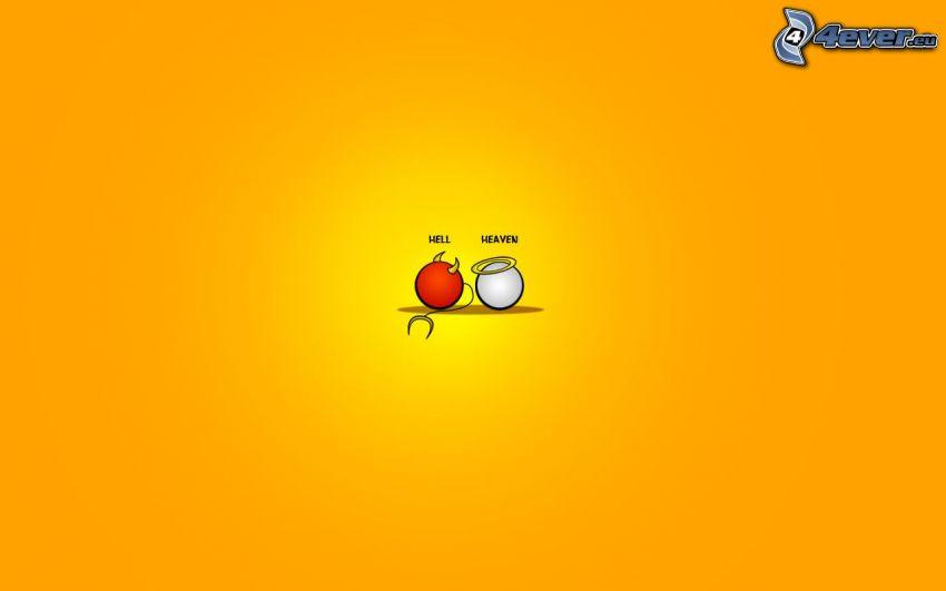 helvete, himmel, smileys, orange bakgrund