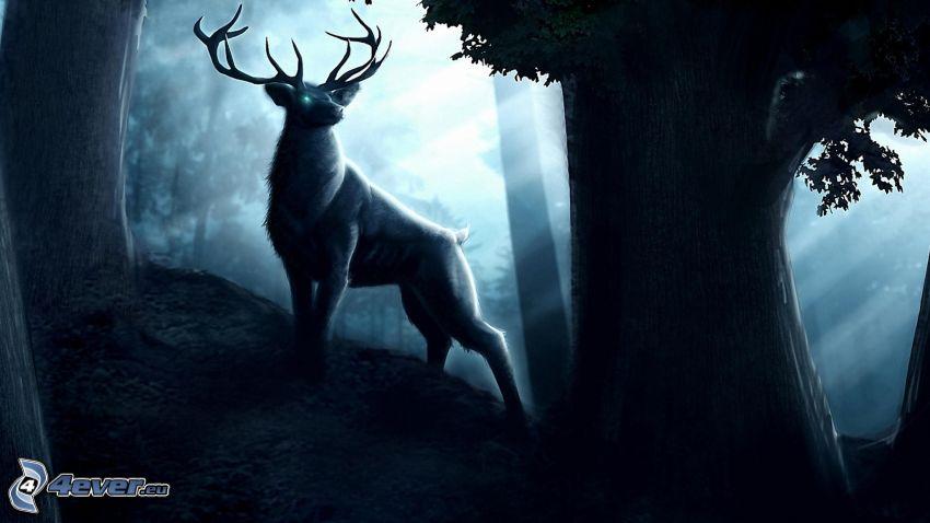 hjort, träd
