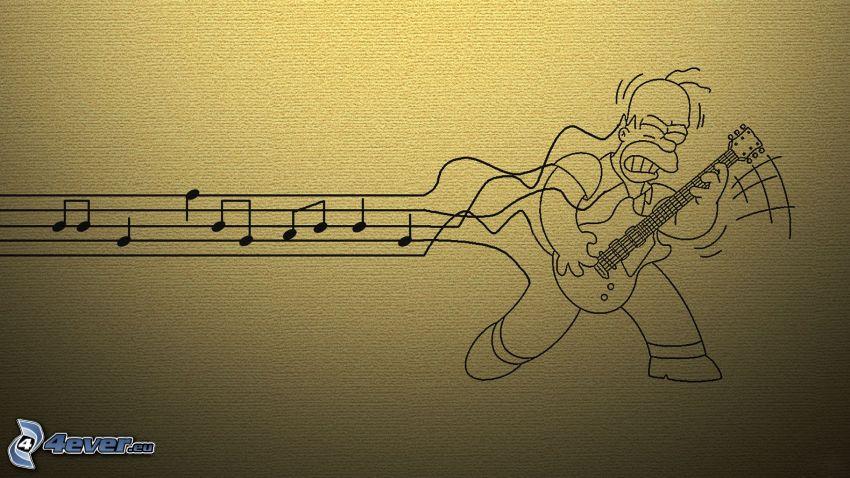Homer Simpson, gitarrspelare, noter