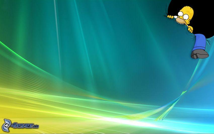 Homer Simpson, Windows Vista, färgstark bakgrund