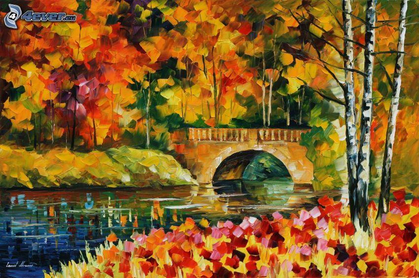 höst, flod, stenbro, träd, löv, målning, bild