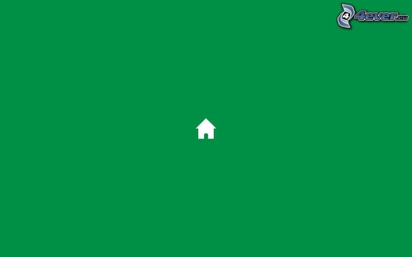hus, grön bakgrund